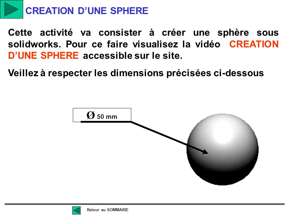 Ø 50 mm CREATION D'UNE SPHERE