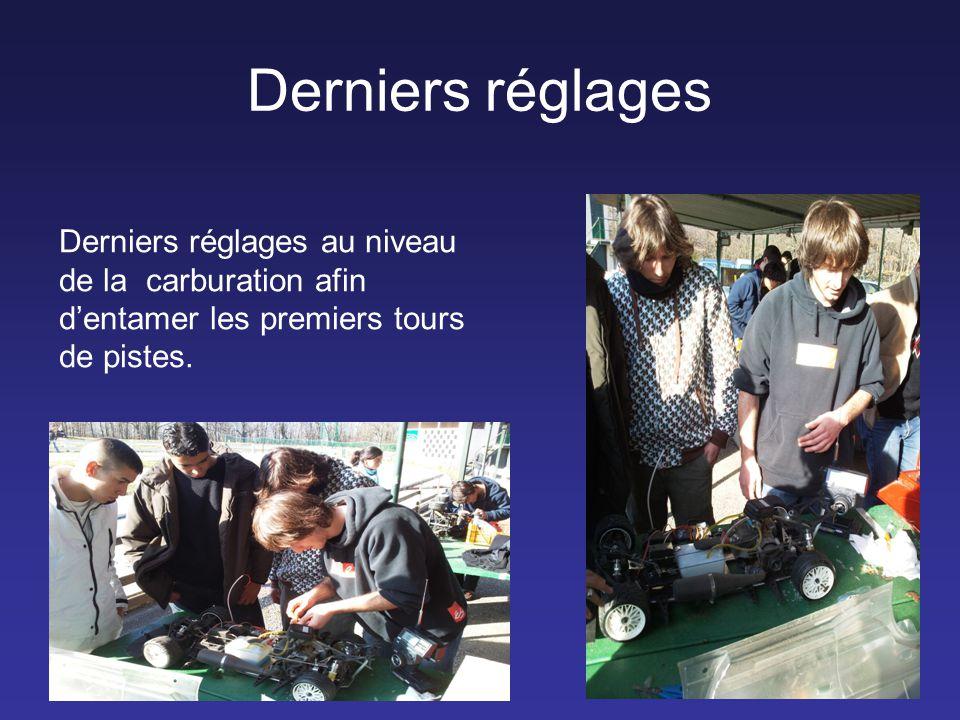 Derniers réglages Derniers réglages au niveau de la carburation afin d'entamer les premiers tours de pistes.