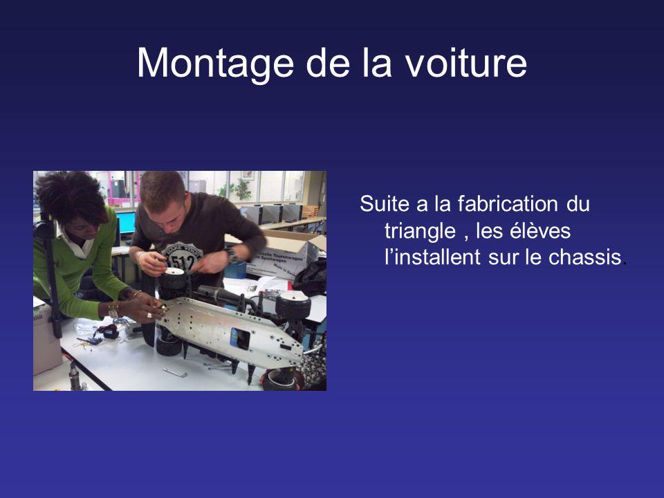 Montage de la voiture Suite a la fabrication du triangle , les élèves l'installent sur le chassis.