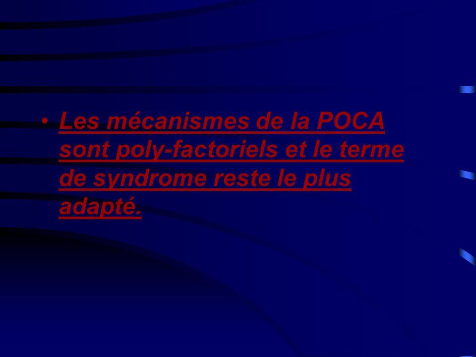 Les mécanismes de la POCA sont poly-factoriels et le terme de syndrome reste le plus adapté.