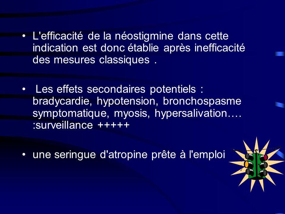L efficacité de la néostigmine dans cette indication est donc établie après inefficacité des mesures classiques .