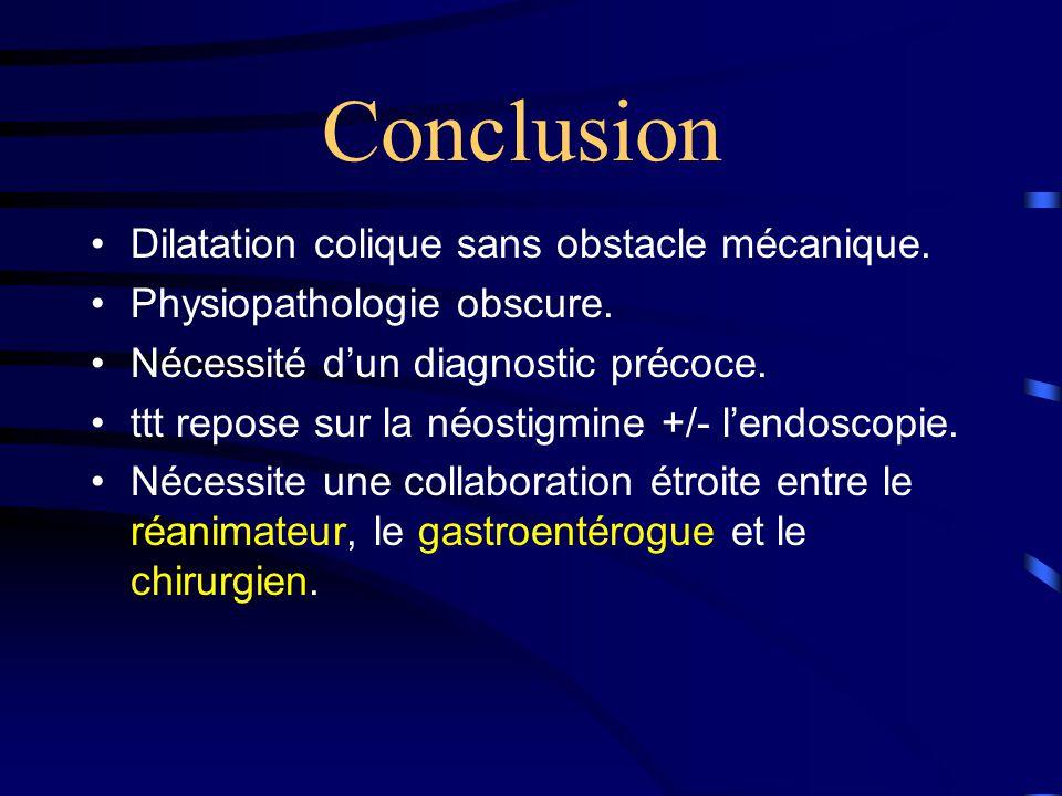 Conclusion Dilatation colique sans obstacle mécanique.