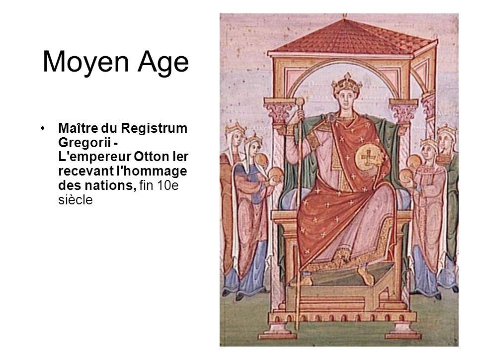 Moyen Age Maître du Registrum Gregorii - L empereur Otton Ier recevant l hommage des nations, fin 10e siècle.
