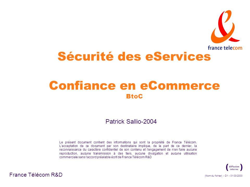 Sécurité des eServices Confiance en eCommerce BtoC