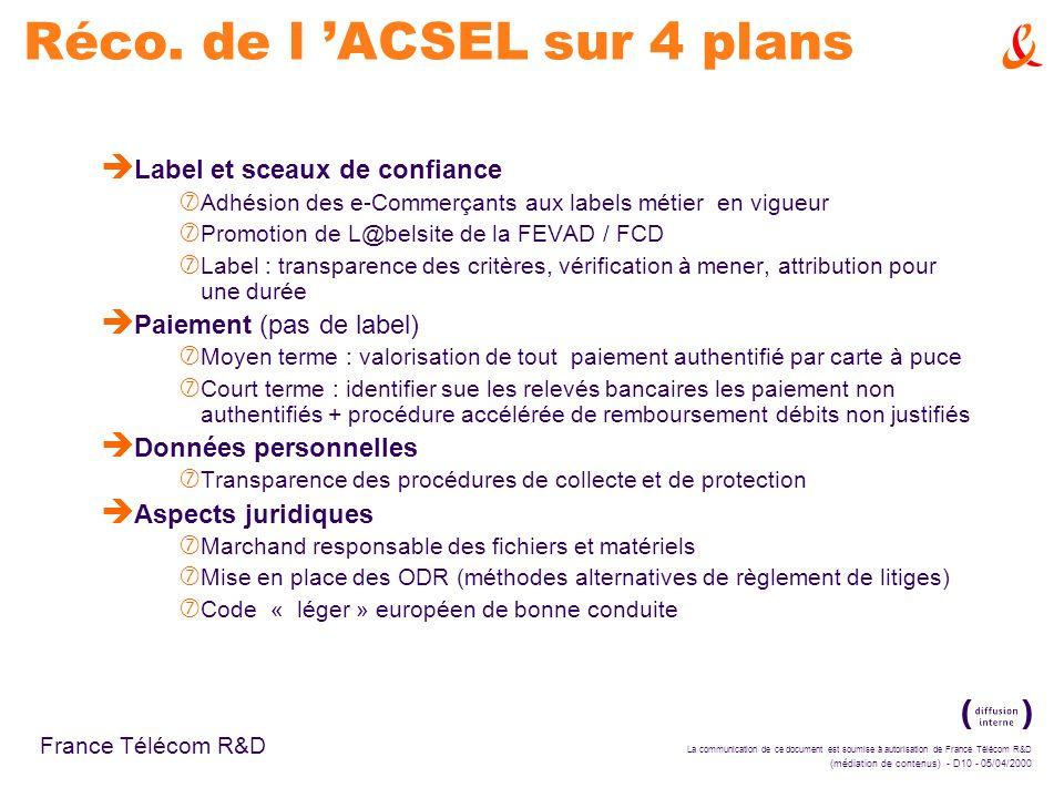 Réco. de l 'ACSEL sur 4 plans