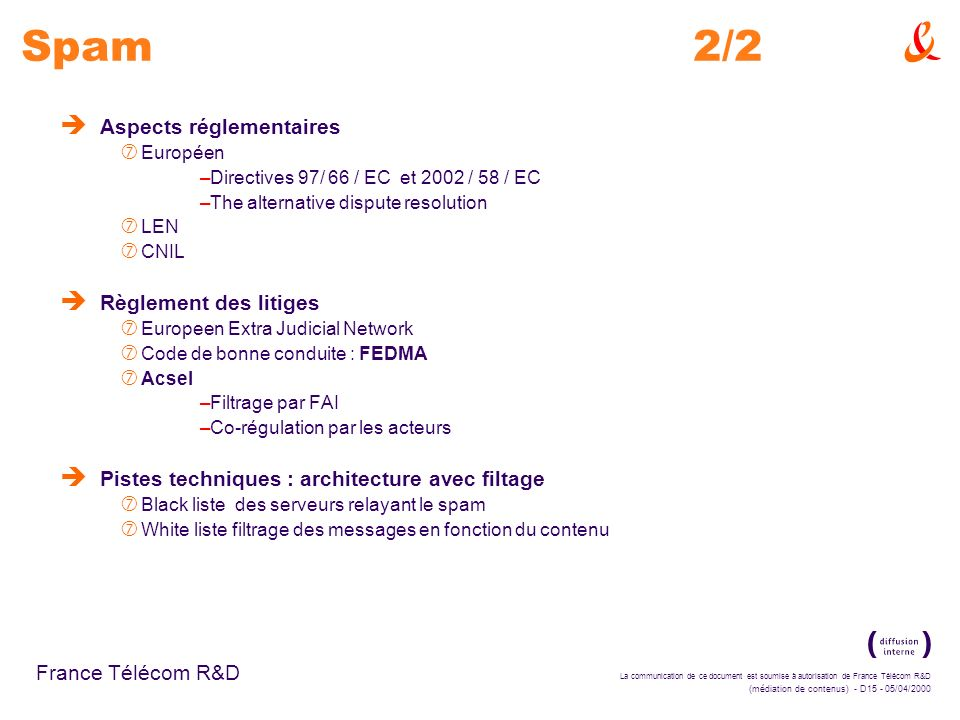 Spam 2/2 Aspects réglementaires Règlement des litiges