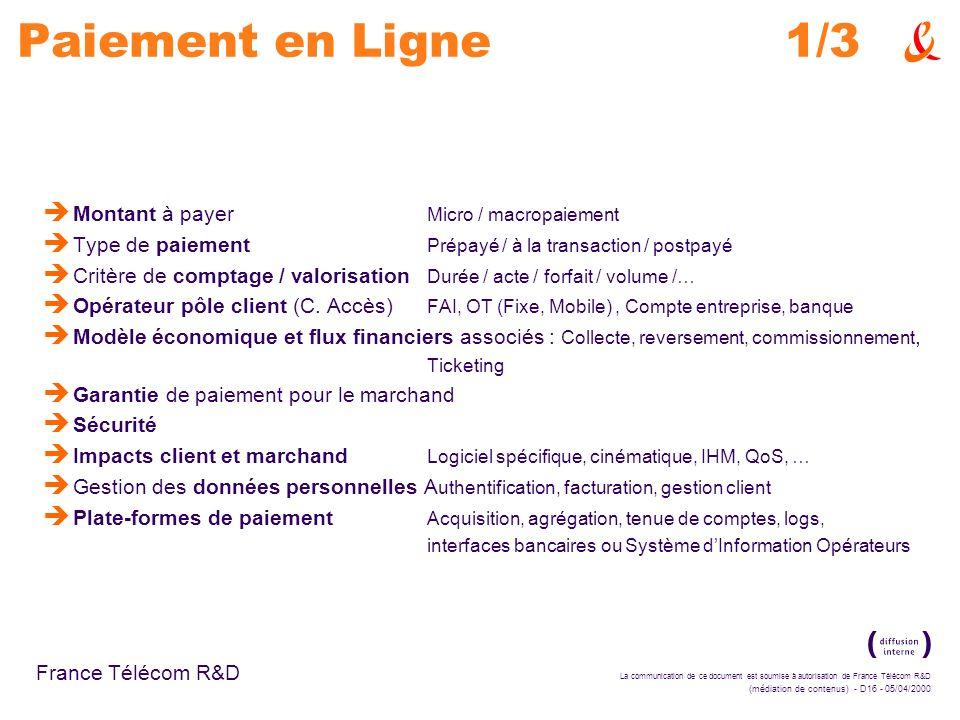 Paiement en Ligne 1/3 Montant à payer Micro / macropaiement