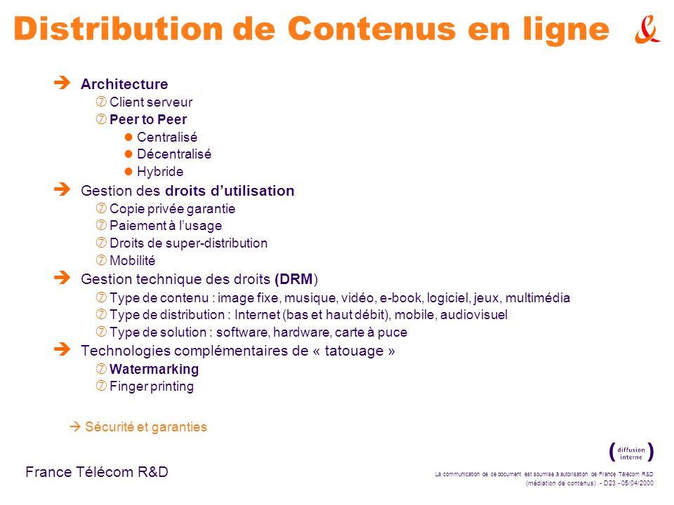 Distribution de Contenus en ligne
