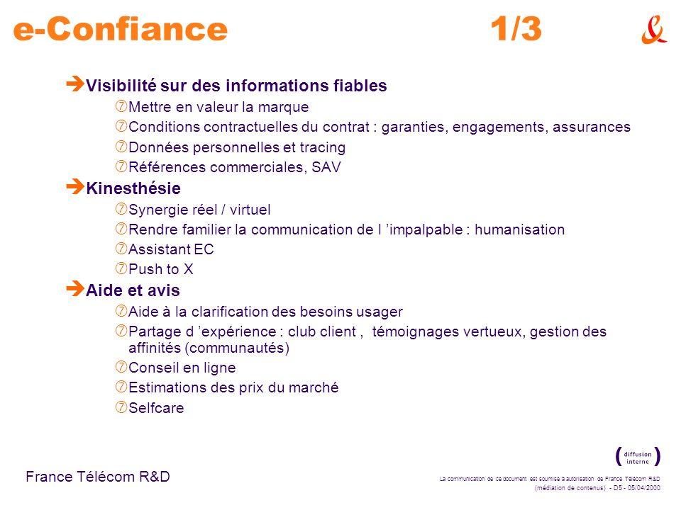 e-Confiance 1/3 Visibilité sur des informations fiables Kinesthésie