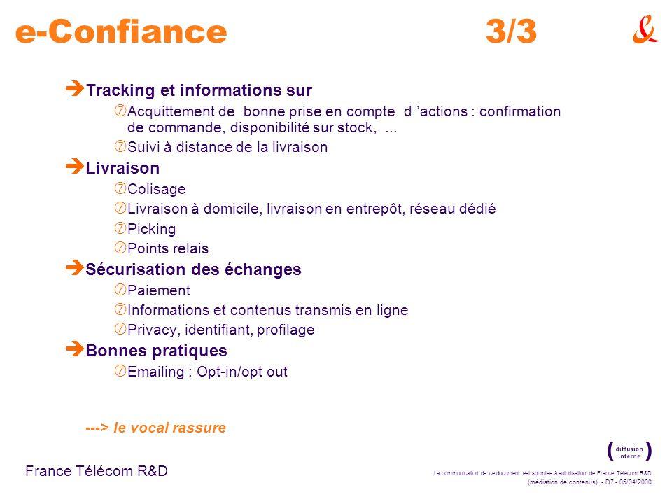 e-Confiance 3/3 Tracking et informations sur Livraison