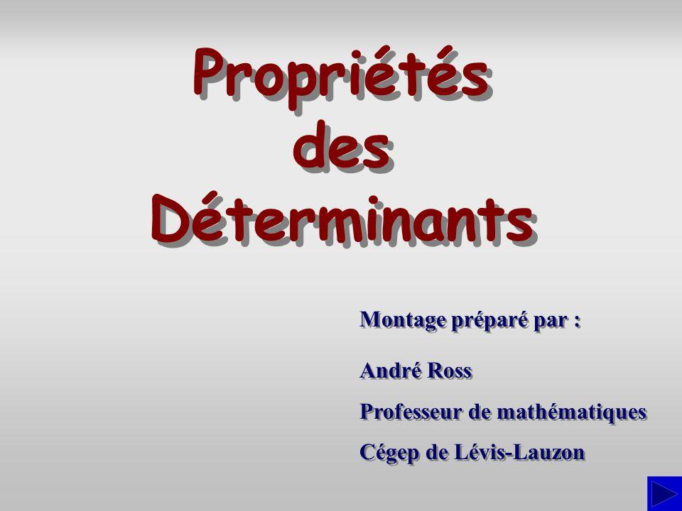 Propriétés des Déterminants