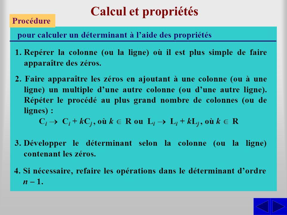 Calcul et propriétés Procédure