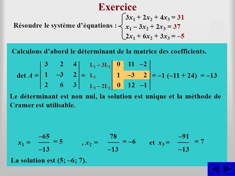 Exercice S S S 3x1 + 2x2 + 4x3 = 31 Résoudre le système d'équations :