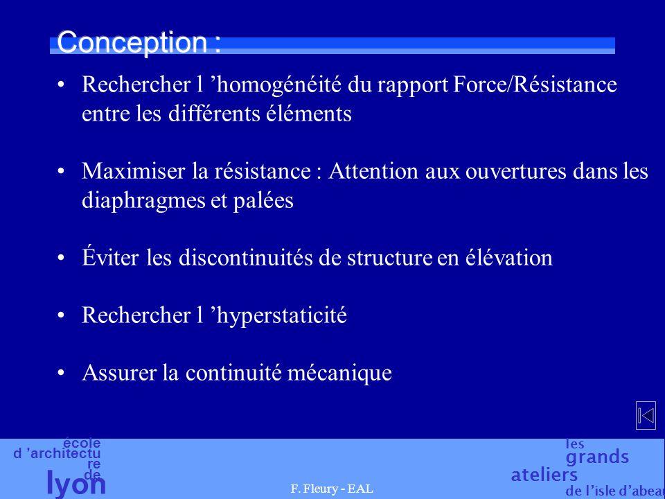 Conception : Rechercher l 'homogénéité du rapport Force/Résistance entre les différents éléments.