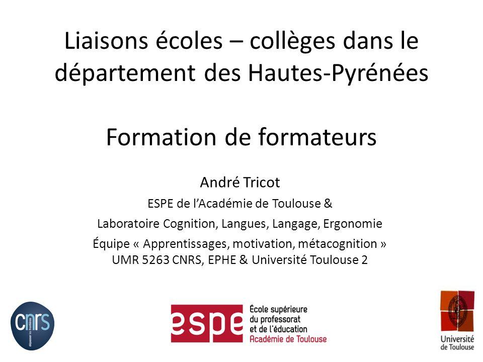 Liaisons écoles – collèges dans le département des Hautes-Pyrénées Formation de formateurs