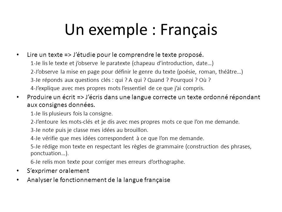 Un exemple : Français Lire un texte => J'étudie pour le comprendre le texte proposé.