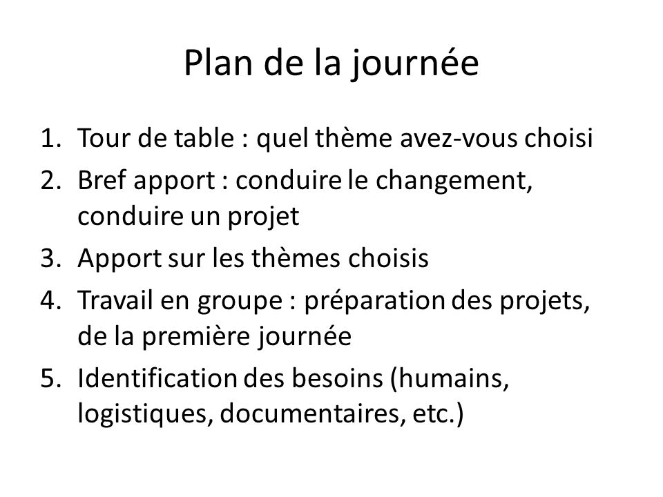 Plan de la journée Tour de table : quel thème avez-vous choisi