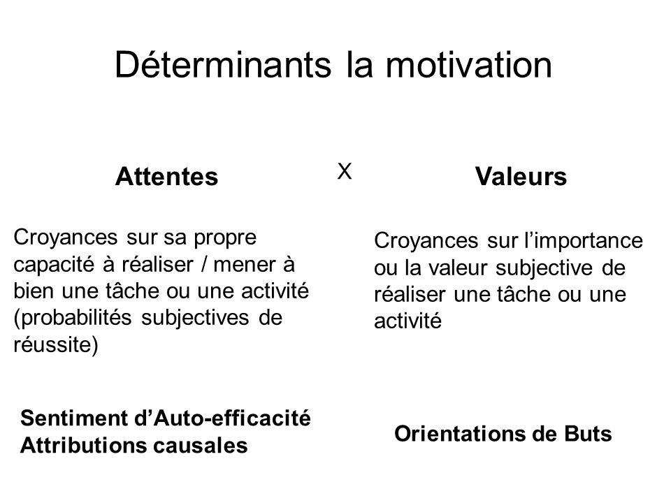Déterminants la motivation