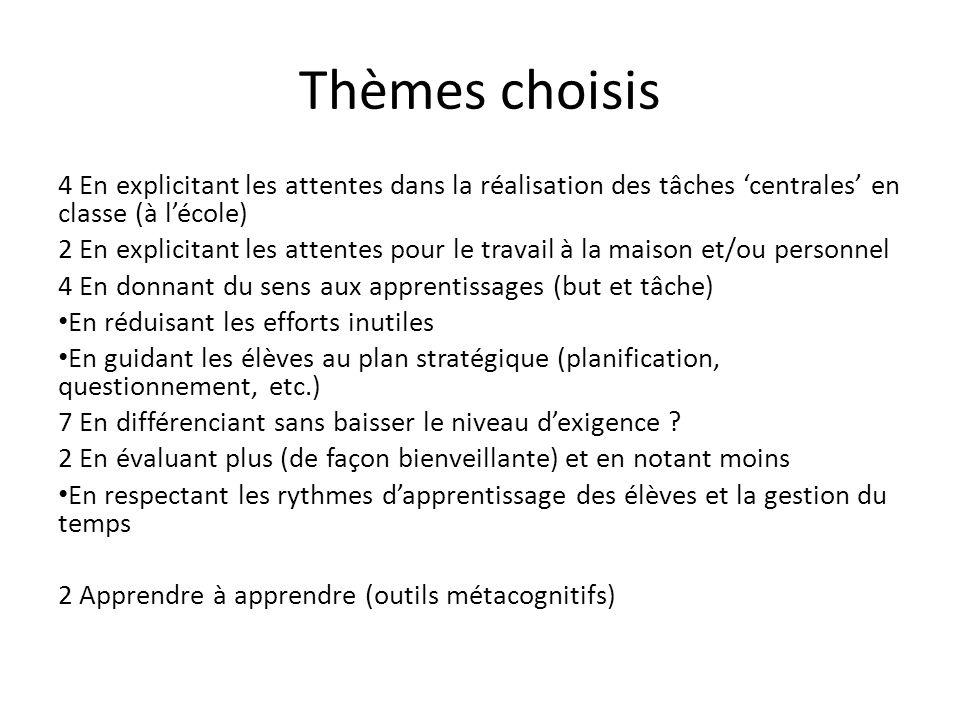 Thèmes choisis 4 En explicitant les attentes dans la réalisation des tâches 'centrales' en classe (à l'école)