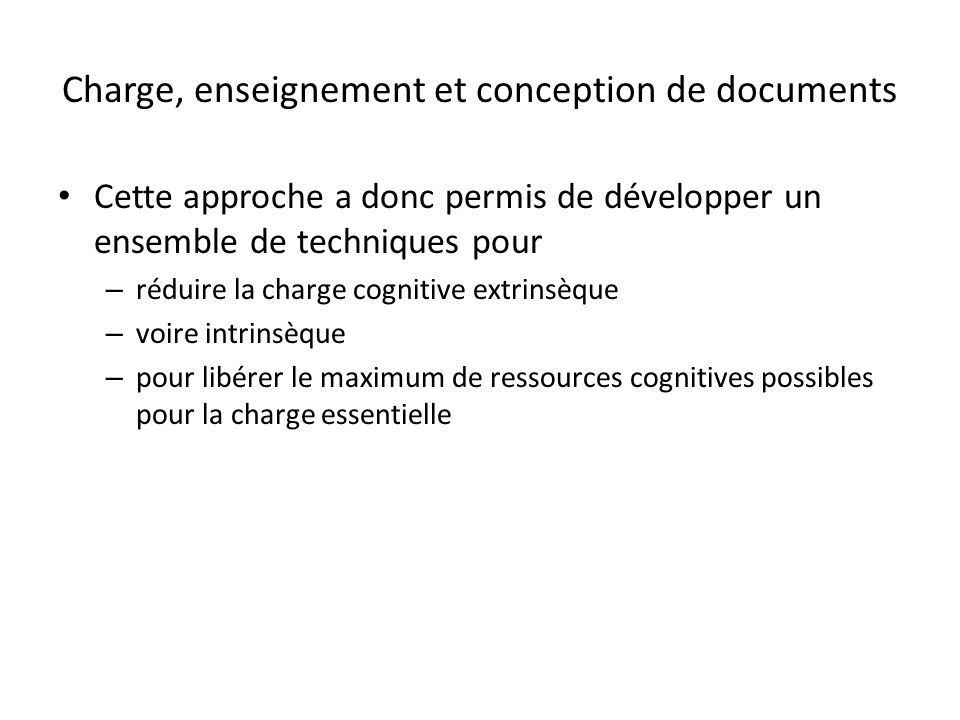 Charge, enseignement et conception de documents