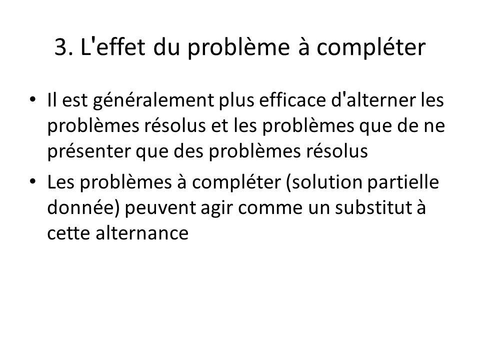 3. L effet du problème à compléter