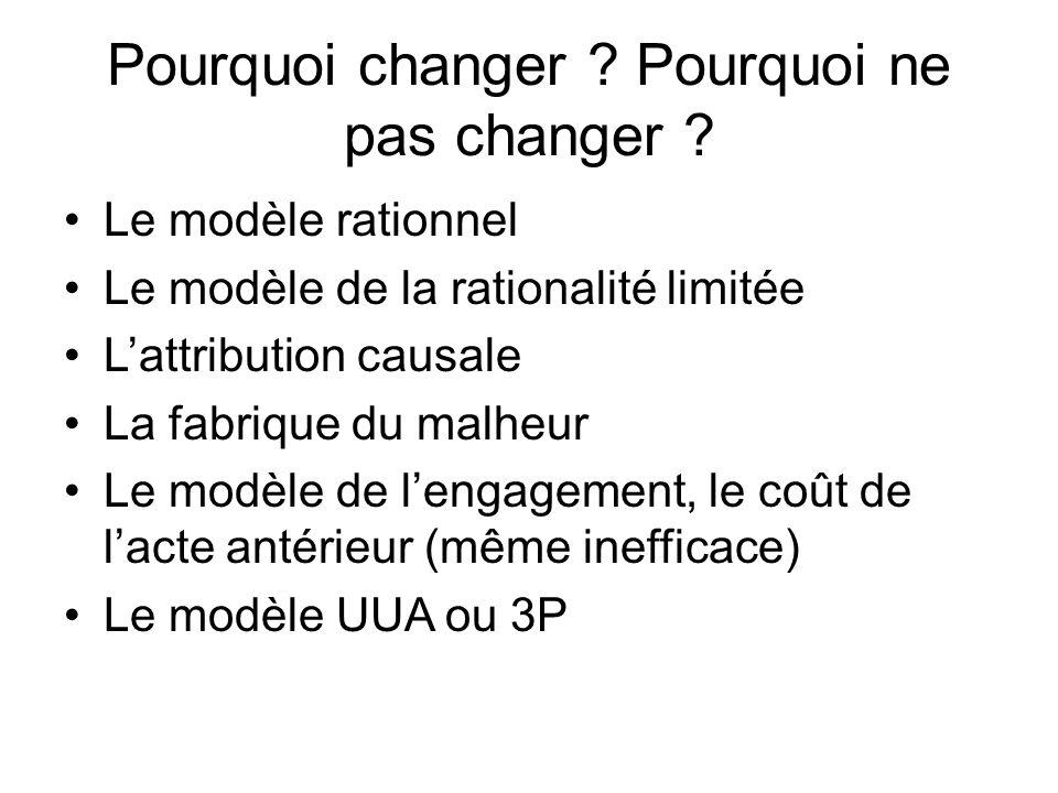 Pourquoi changer Pourquoi ne pas changer