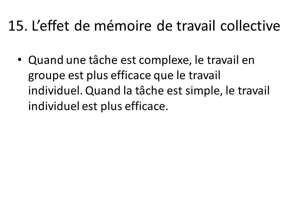 15. L'effet de mémoire de travail collective