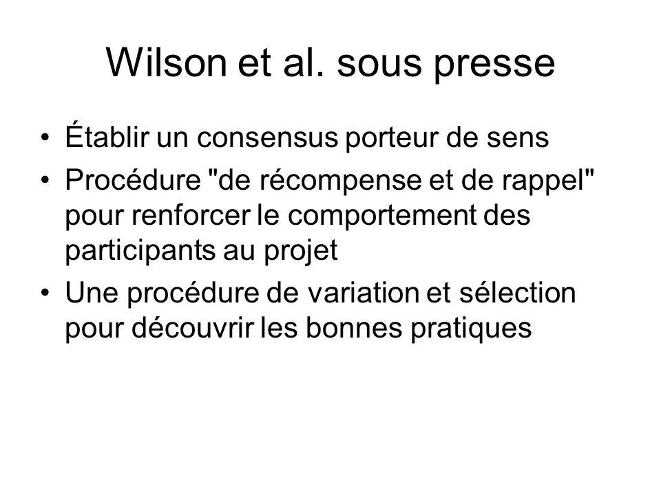 Wilson et al. sous presse