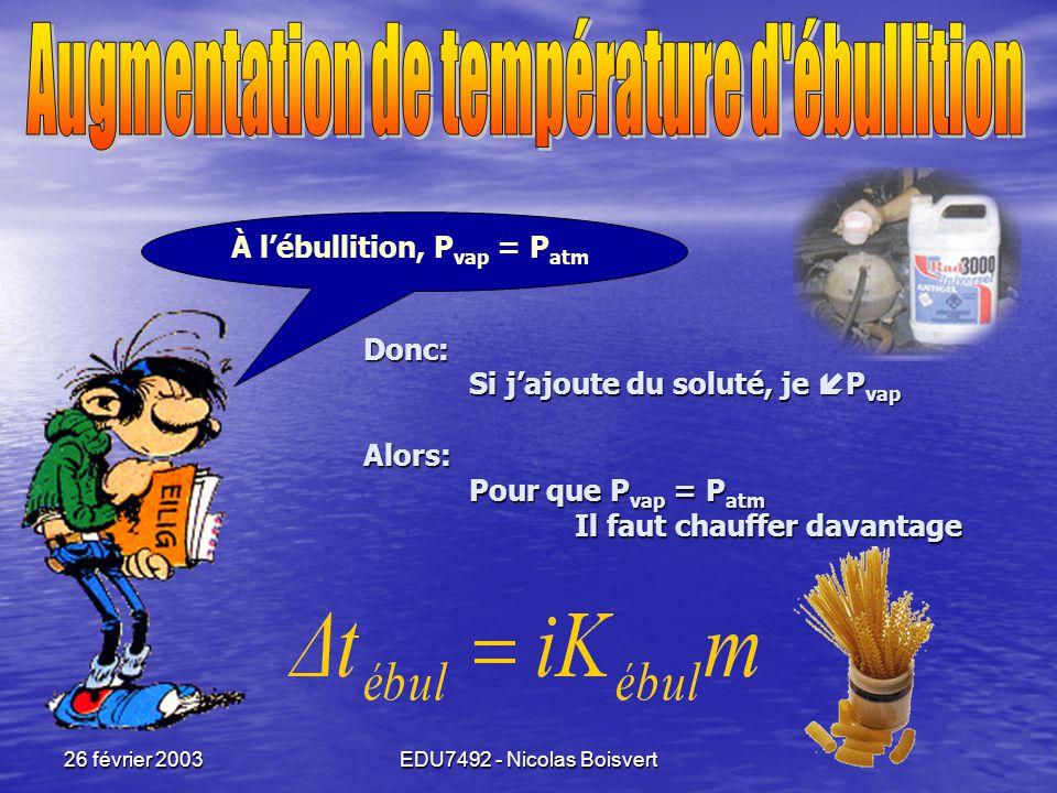 Augmentation de température d ébullition