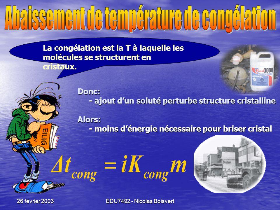 Abaissement de température de congélation