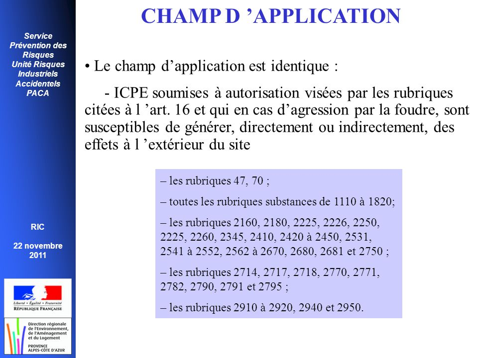 CHAMP D 'APPLICATION Le champ d'application est identique :