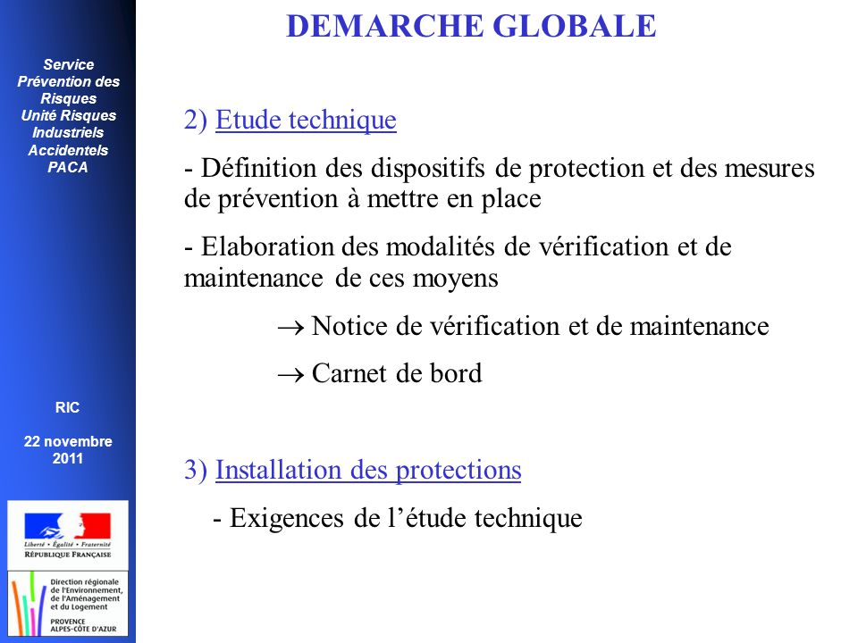 DEMARCHE GLOBALE 2) Etude technique