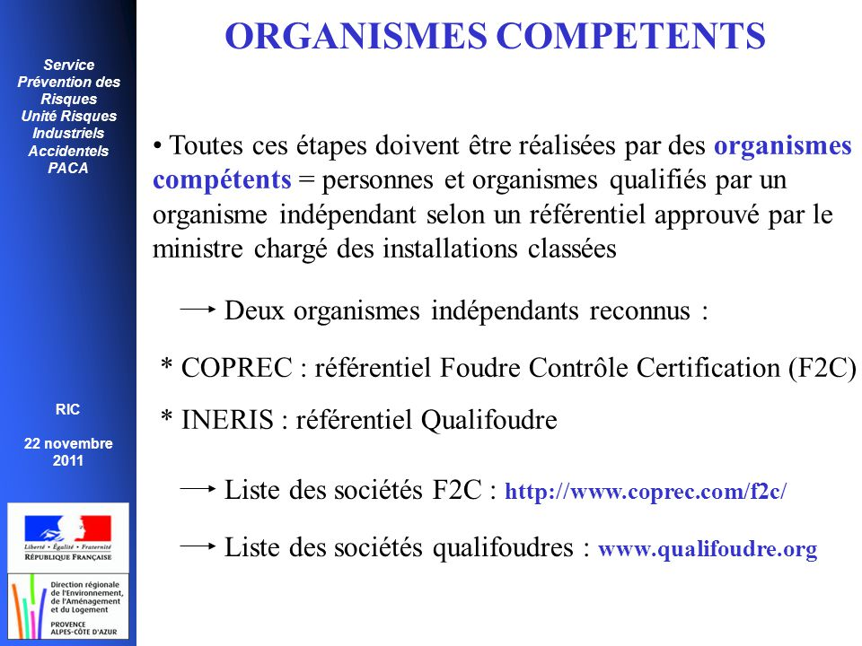 ORGANISMES COMPETENTS