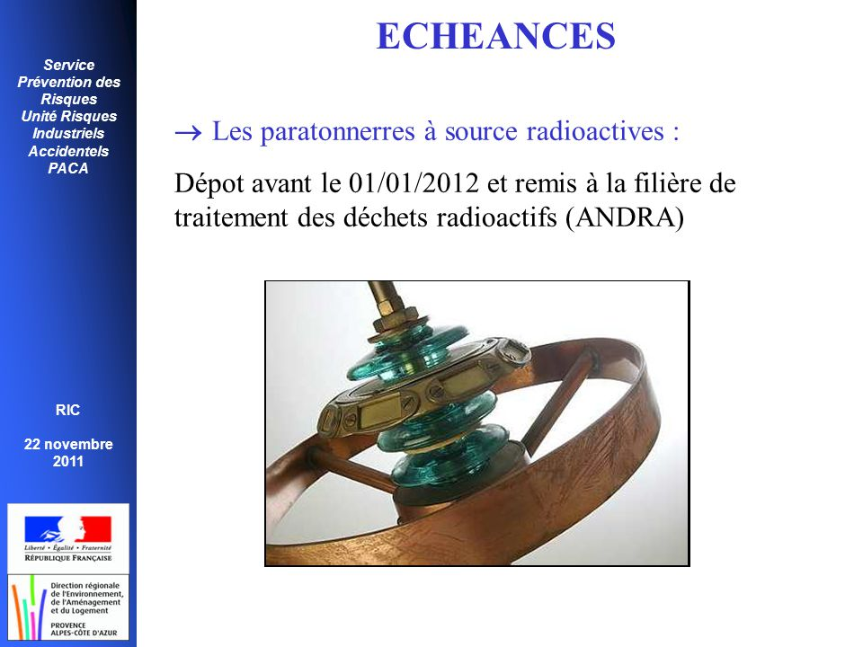 ECHEANCES  Les paratonnerres à source radioactives :