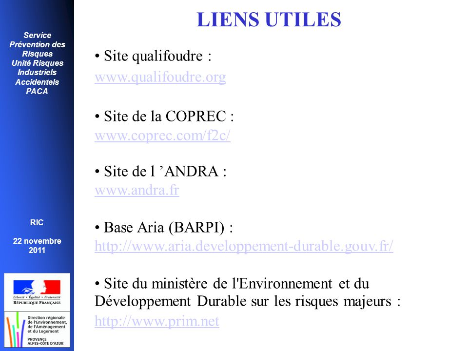 LIENS UTILES Site qualifoudre : www.qualifoudre.org