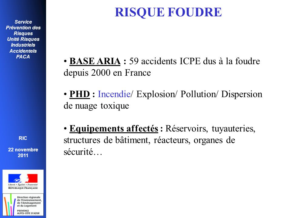 RISQUE FOUDRE BASE ARIA : 59 accidents ICPE dus à la foudre depuis 2000 en France. PHD : Incendie/ Explosion/ Pollution/ Dispersion de nuage toxique.
