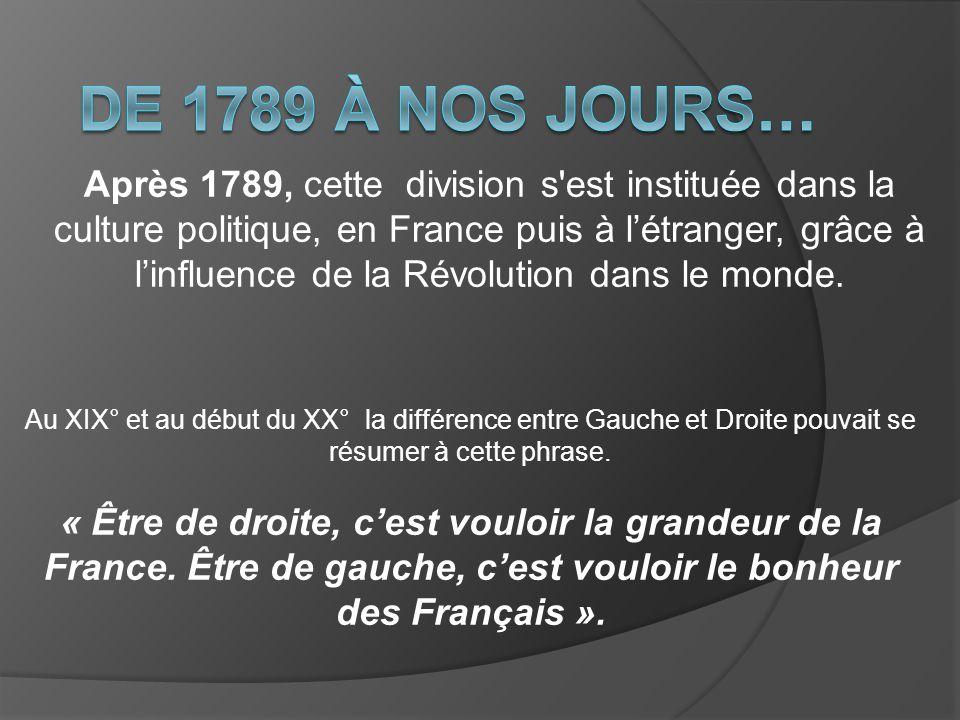 De 1789 à nos jours…