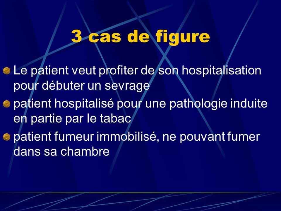 3 cas de figure Le patient veut profiter de son hospitalisation pour débuter un sevrage.