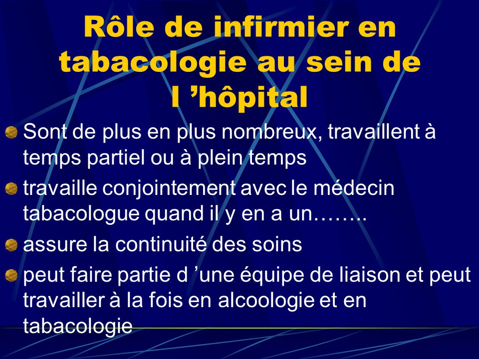 Rôle de infirmier en tabacologie au sein de l 'hôpital