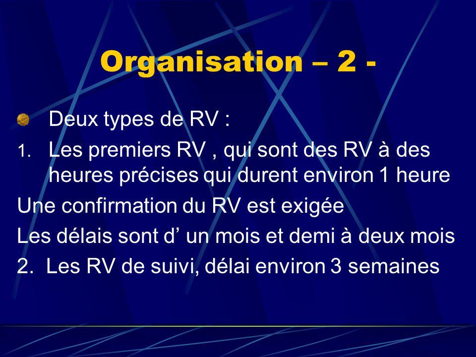 Organisation – 2 - Deux types de RV :