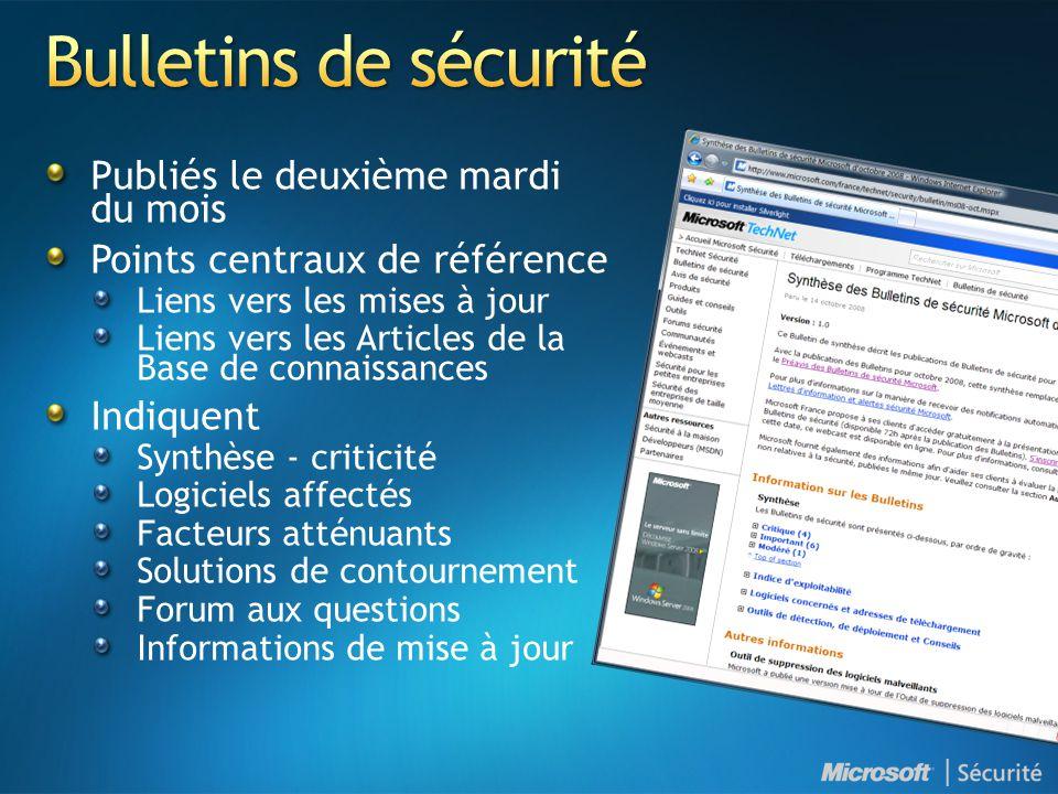 Bulletins de sécurité Publiés le deuxième mardi du mois