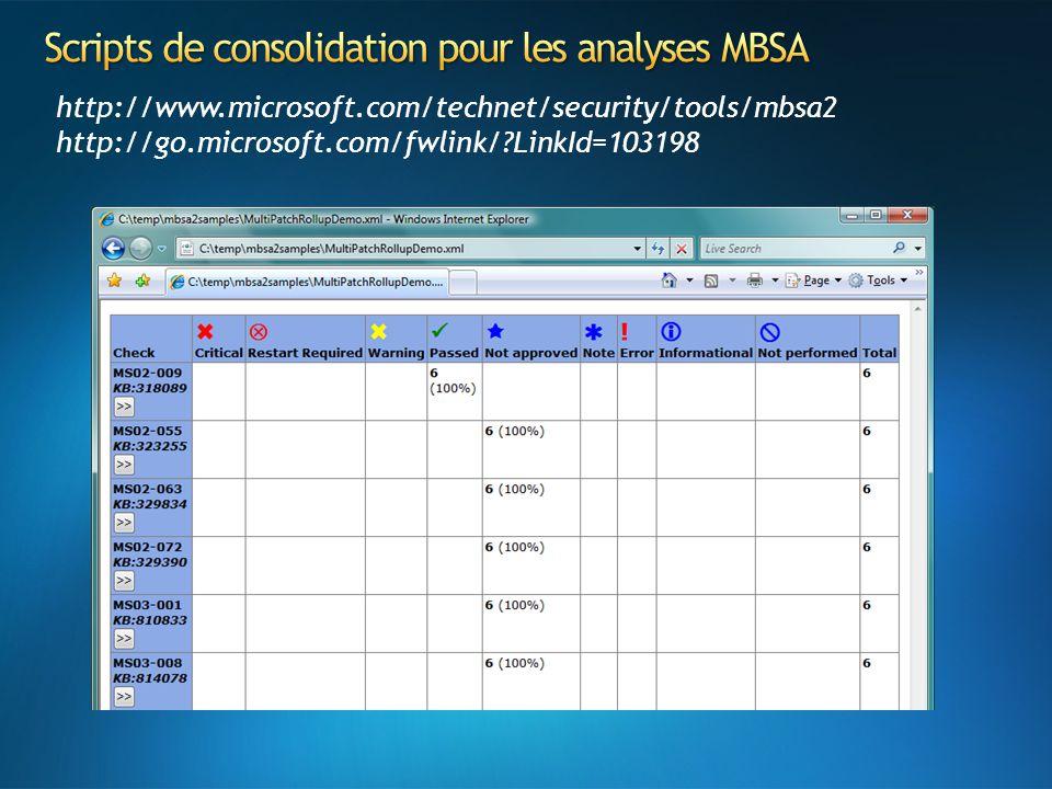 Scripts de consolidation pour les analyses MBSA