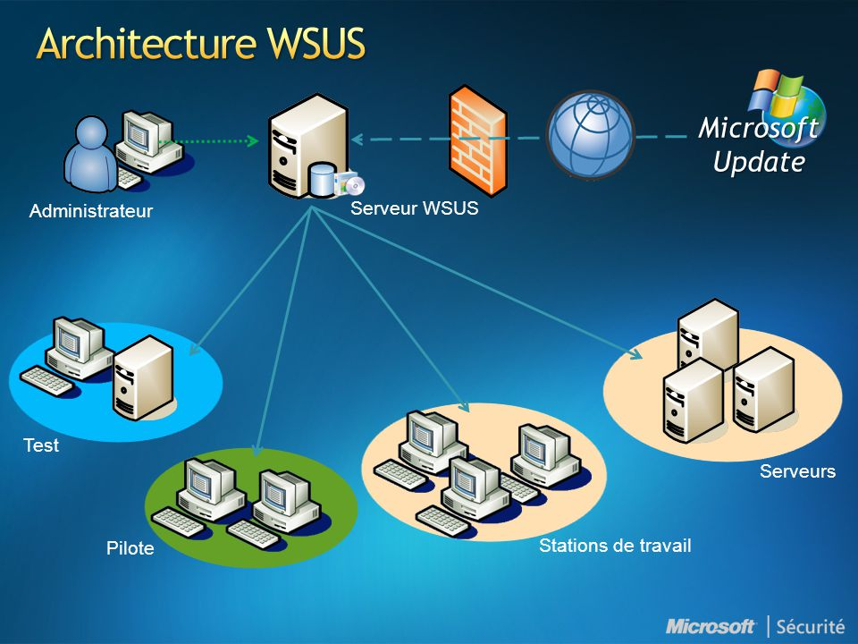 Architecture WSUS Microsoft Update Serveur WSUS Administrateur Test