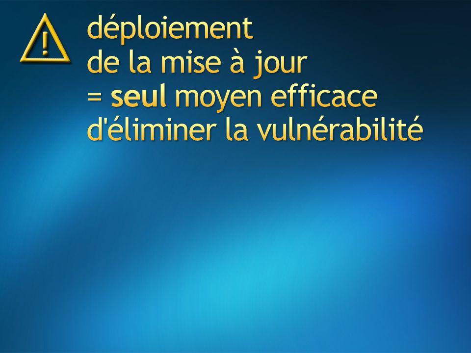 déploiement de la mise à jour = seul moyen efficace d éliminer la vulnérabilité