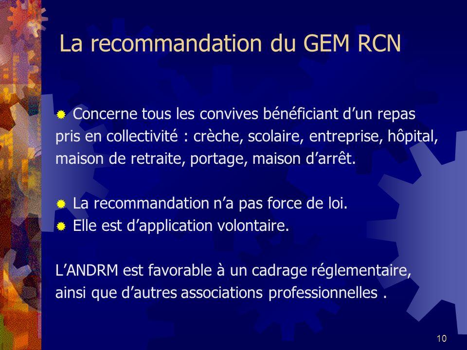 La recommandation du GEM RCN