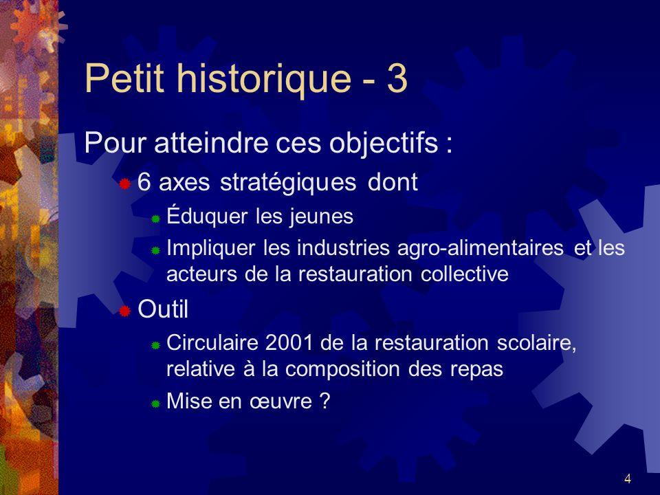Petit historique - 3 Pour atteindre ces objectifs :