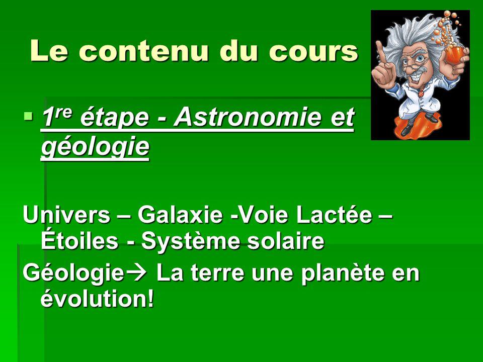 Le contenu du cours 1re étape - Astronomie et géologie