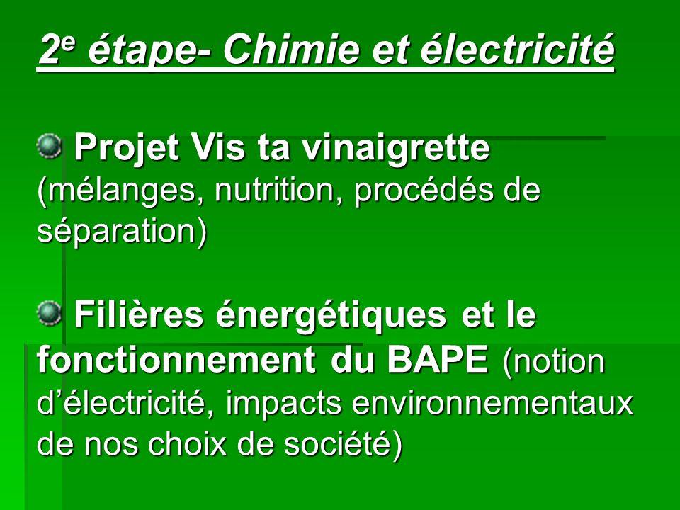 2e étape- Chimie et électricité