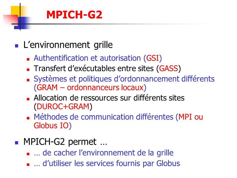 MPICH-G2 L'environnement grille MPICH-G2 permet …