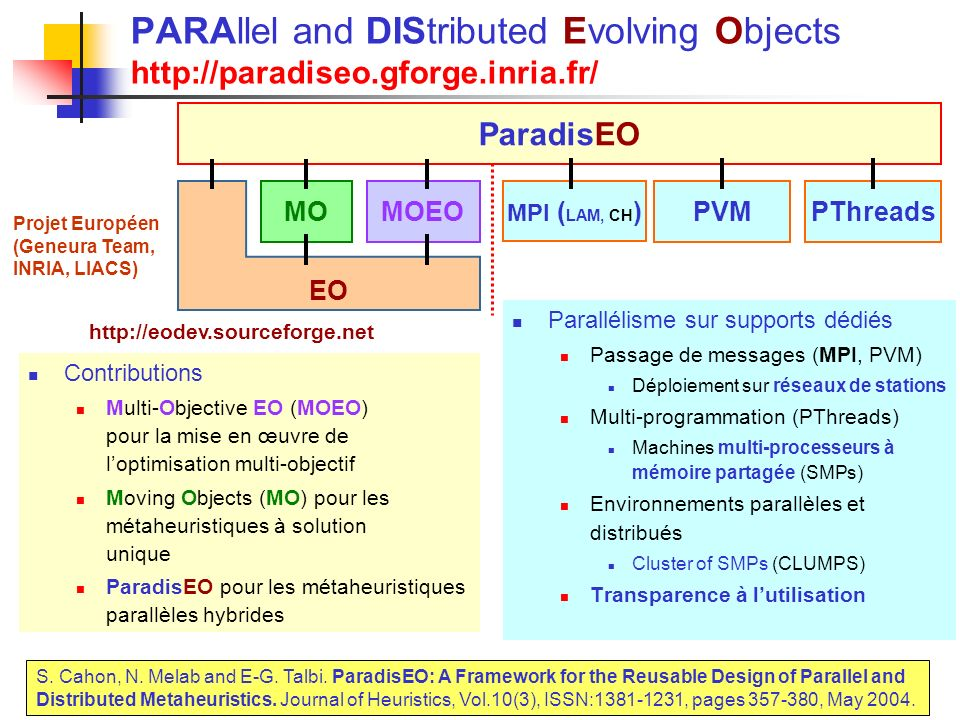 PARAllel and DIStributed Evolving Objects http://paradiseo. gforge